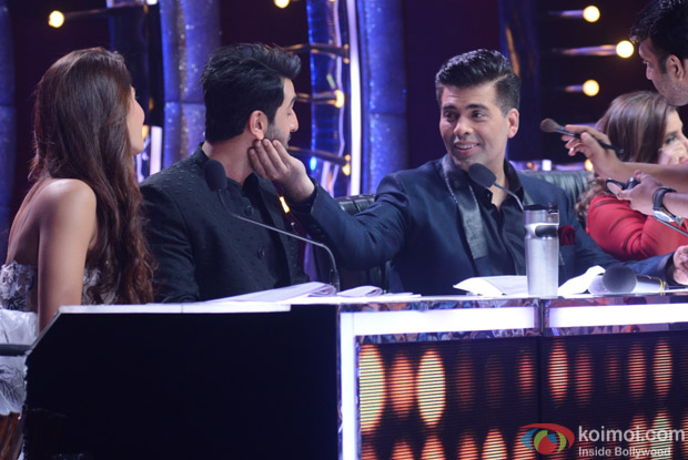 Jacqueline Fernandez, Farah Khan, Karan Johar and Ranbir Kapoor on the sets of Jhalak Dikhhla Jaa