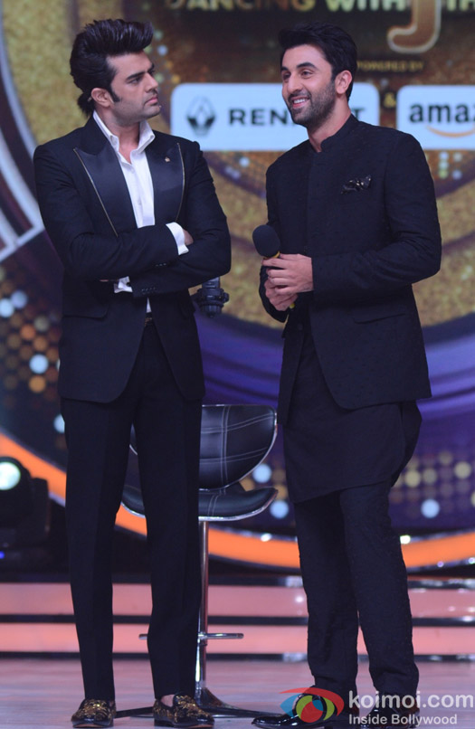Manish Paul and Ranbir Kapoor on the sets of Jhalak Dikhhla Jaa