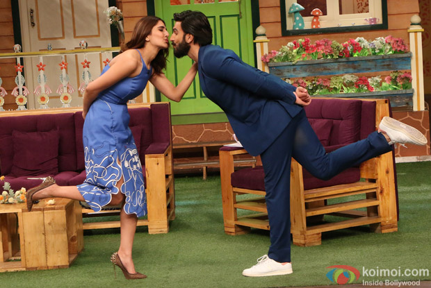 Ranveer Singh and Vaani Kapoor on the sets of The Kapil Sharma Show