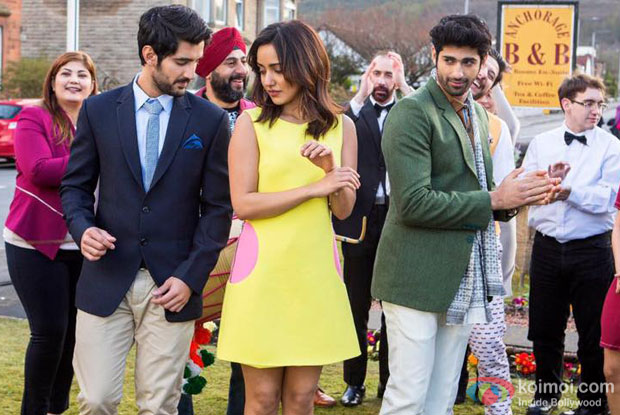 Aditya Seal, Neha Sharma and Aashim Gulati in a still from Tum Bin 2