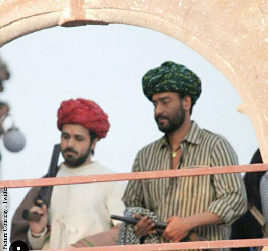 Emraan Hashmi and Ajay Devgn On The Sets Of Baadshaho