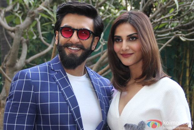 Ranveer Singh and Vaani Kapoor during the promotion of Befikre at YRF studio
