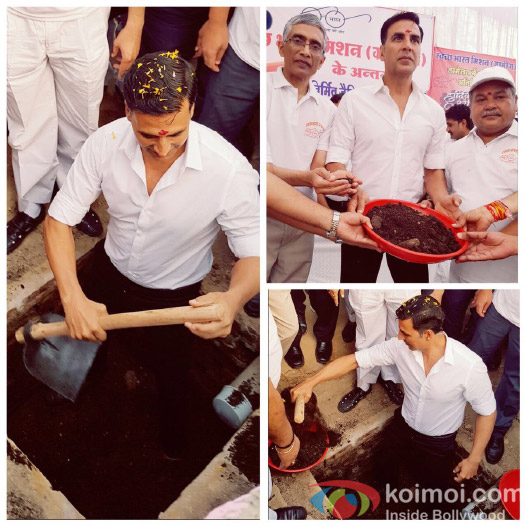 Akshay Kumar digs toilet in MP district