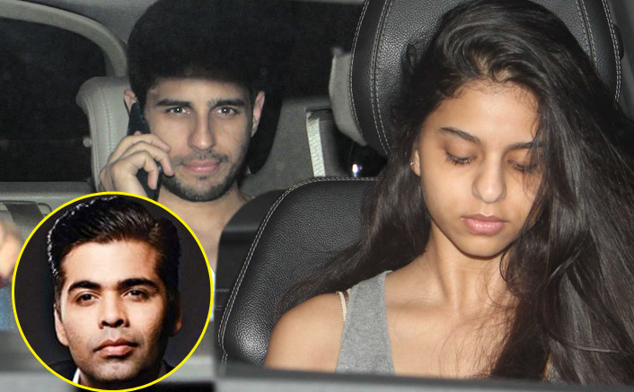 Sidharth Malhotra and Suhana Khan snapped outside Karan Johar's house