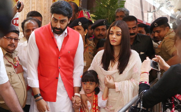 aishwarya rai with abhishek and aradhya visit to siddhivinayak temple