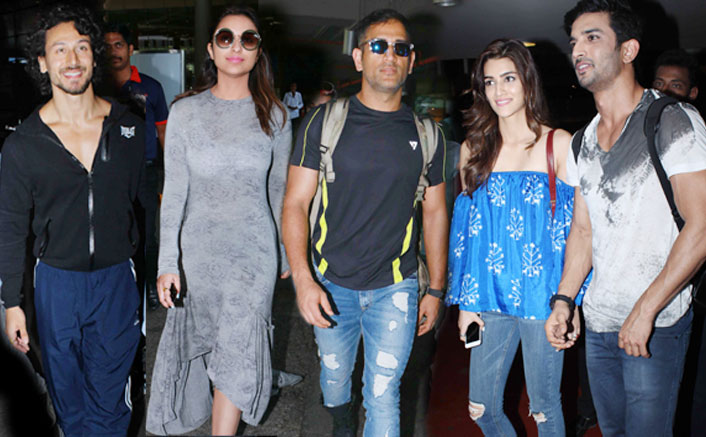 Parineeti Chopra , Ms Dhoni, Kriti Sanon, Sushant Singh Rajput , Tiger Shroff Spotted at Airport
