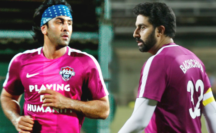 Abhishek Bachchan and Ranbir Kapoor hit the football field for charity