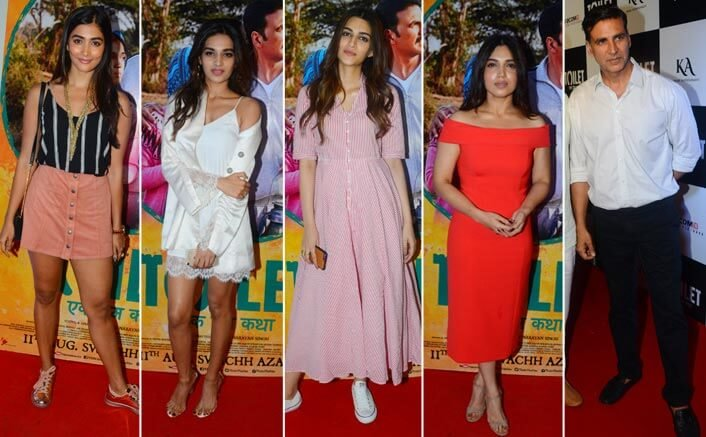 The stars descend on the red carpet for the premiere of Toilet - Ek Prem Katha!