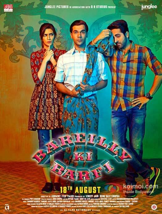 Rajkumar dons a saree as Kriti and Ayushmann look on in this endearing poster of 'Bareilly ki Barfi'