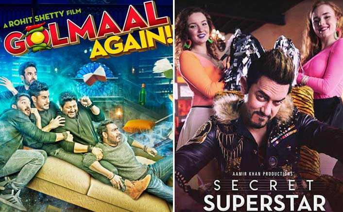 Box Office - Golmaal Again and Secret Superstar lead to HIGHEST Friday collections ever on a CLASH