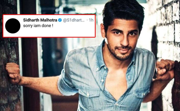 Image result for sidhrth malhotra twitter trend i am done