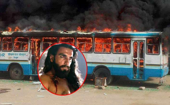 Padmaavat protests: Mob torches bus in Gurugram, damages schoolbus