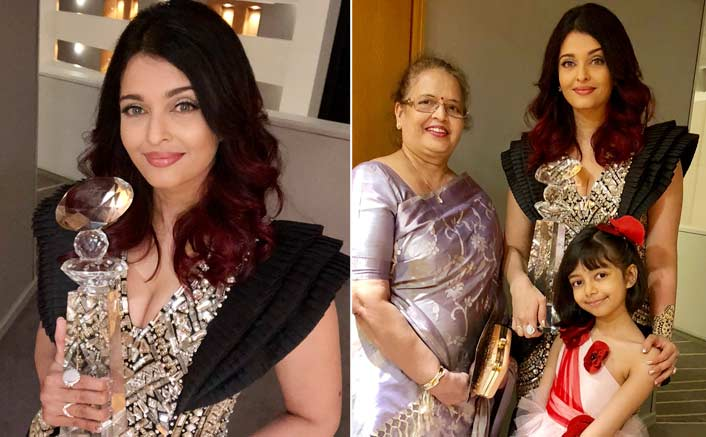Aishwarya receives Meryl Streep Award with daughter, mother in tow